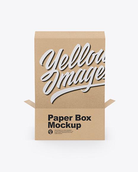 Opened Kraft Box Mockup - Back View (High-Angle Shot)