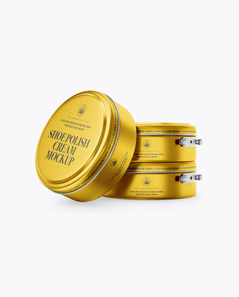 Metallic Shoe Polish Cream Jars Mockup