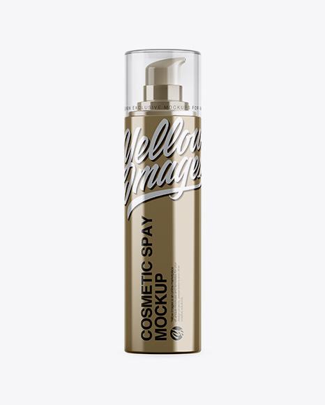 Metallic Cosmetic Bottle w/ Pump Mockup