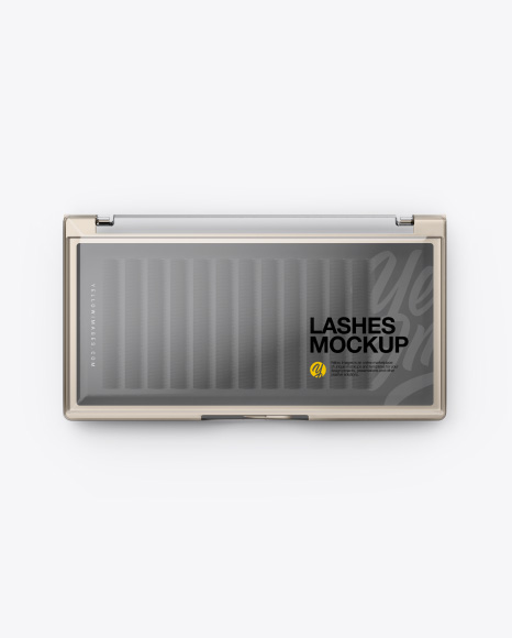 Closed Transparent Box with Lashes Mockup - Top&Front Views