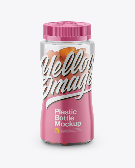 Bottle with Gummies Mockup - Front View (High-Angle Shot)
