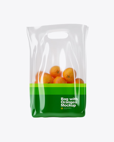 Glossy Bag with Oranges Mockup