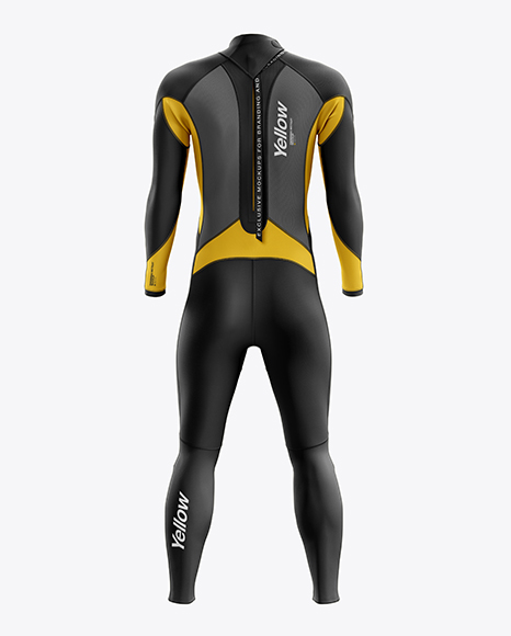 Men's Full Wetsuit mockup (Back View)