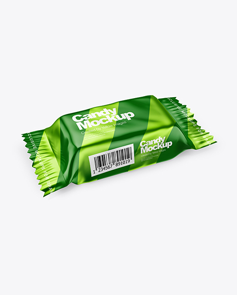 Metallic Candy Package Mockup - Half Side View