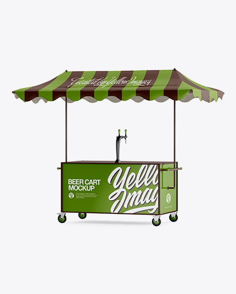 Beer Cart With Awning Mockup - Half Side View