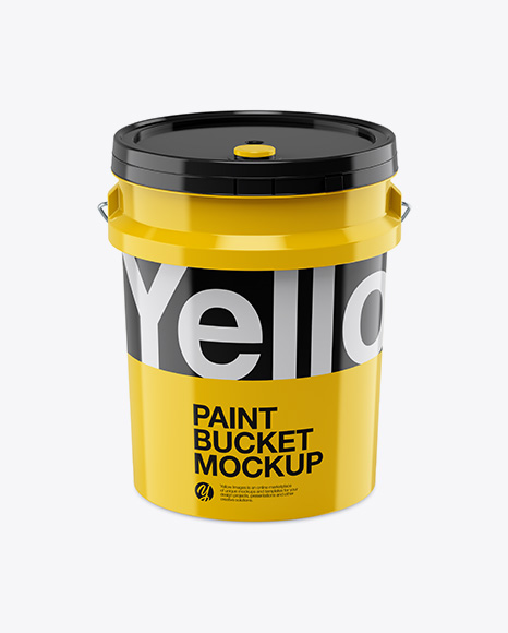 5L Glossy Paint Bucket Mockup - Front View (High-Angle Shot)