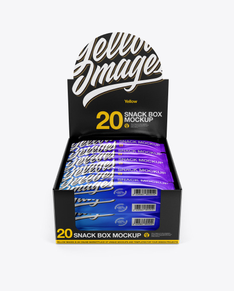 20 Metallic Snack Bars Box Mockup - Front View (High-Angle Shot)