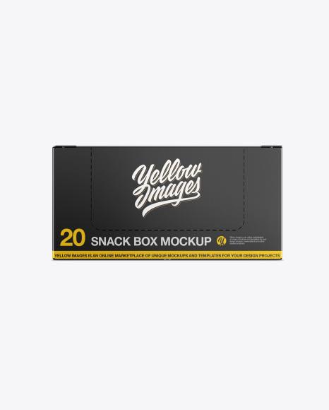 20 Snack Bars Closed Box Mockup - Front View