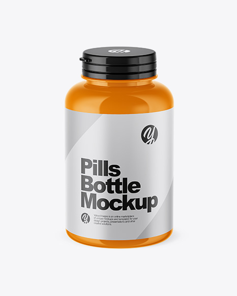 Glossy Pills Bottle Mockup (High-Angle Shot)