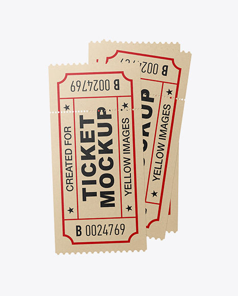 Three Paper Tickets Mockup