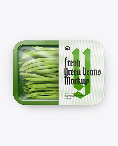 Plastic Tray With Green Beans Mockup - Top View
