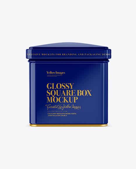 Glossy Square Tin Box Mockup