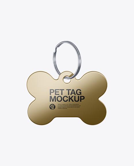 Metallic Pet Tag Mockup - Front View