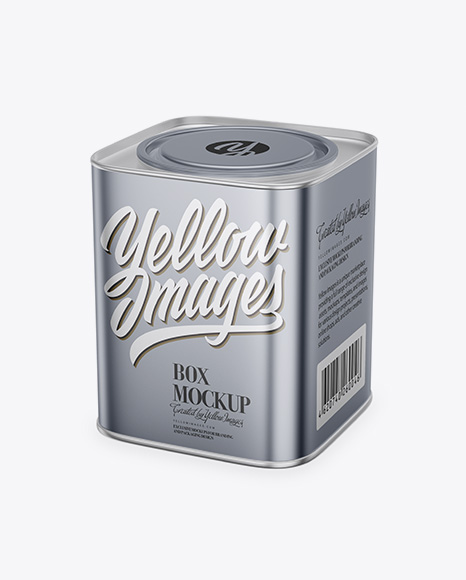 Matte Metallic Tea Box Mockup - Half Side View (High-Angle Shot) Packaging Mockups