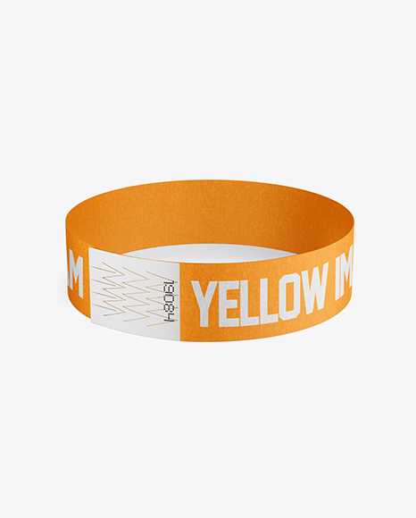 Paper Wristband Mockup - Front View (High Angle Shot)
