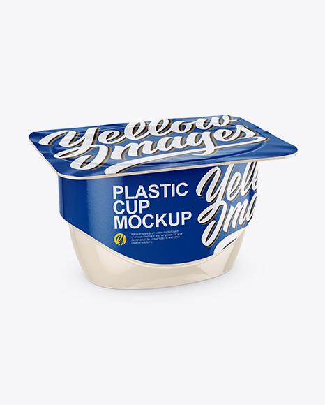 Glossy Yogurt Cup Mockup - Half Side View (High-Angle Shot)