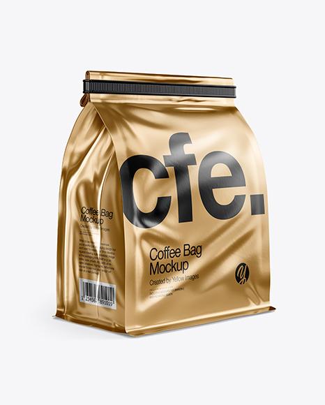 Metallic Coffee Bag With Tin-Tie Mockup - Half Side View