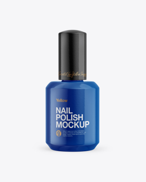 Glossy Nail Polish Bottle Mockup - Front View