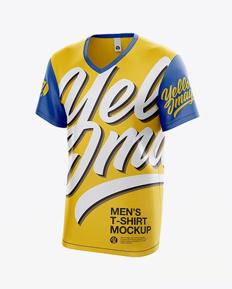 Men's T-Shirt With V-Neck Mockup - Half Side View