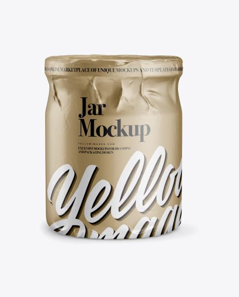 Jar in Metallic Paper Wrap Mockup