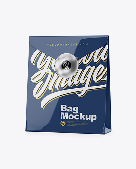 Glossy Bag Mockup - Half Side View