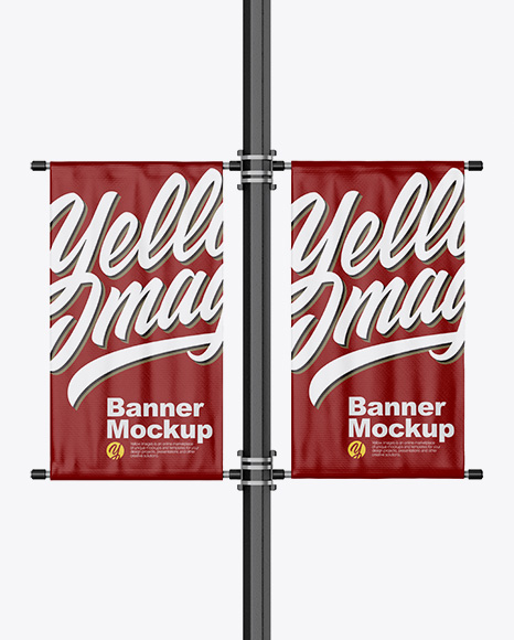 Two Glossy Banners on Pillar Mockup - Front View
