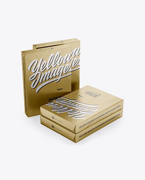 4 Metallic A4 Size Paper Sheet Packs Mockup