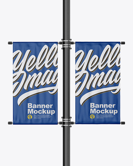 Two Matte Banners Mockup - Front View