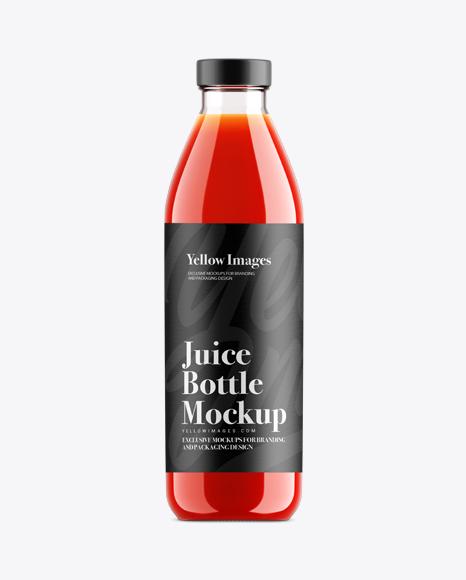 Tomato Juice Glass Bottle Mockup
