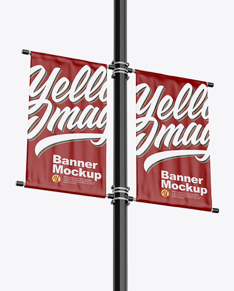 Two Glossy Banners Mockup - Half SIde View
