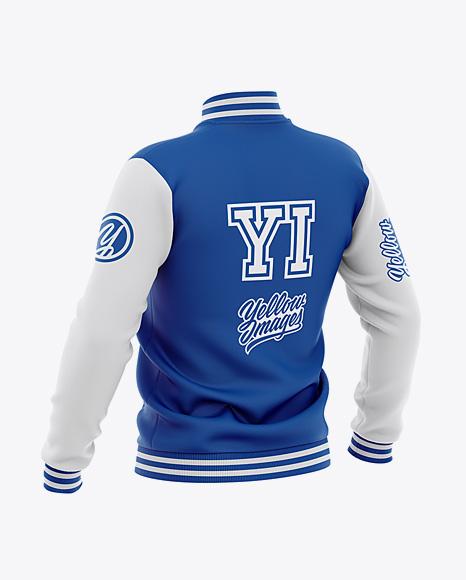 Men's Varsity Jacket Mockup - Back Half-Side View