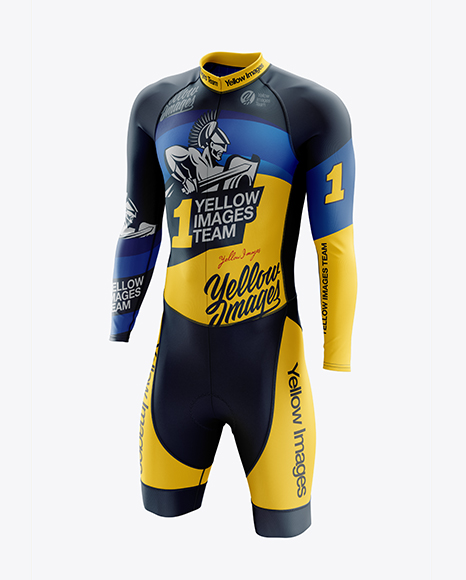 Men's Cycling Skinsuit LS mockup (Half Side View)