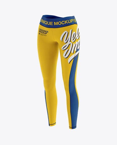 Women's Leggings Mockup - Front Half Side View