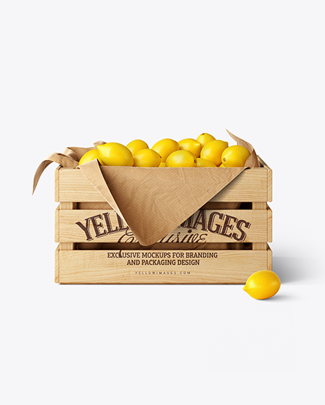 Wooden Crate With Lemons Mockup
