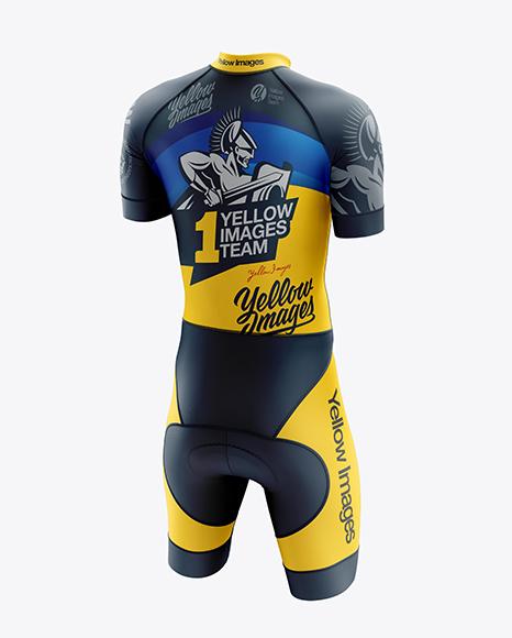 Men's Cycling Skinsuit mockup (Back Half Side View)