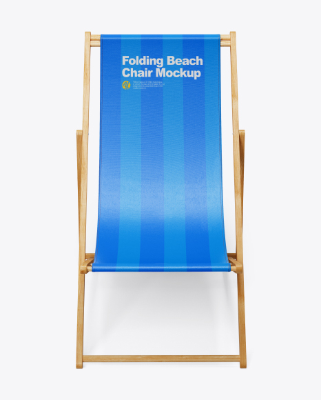 Folding Beach Chair Mockup - Front View (High Angle Shot)