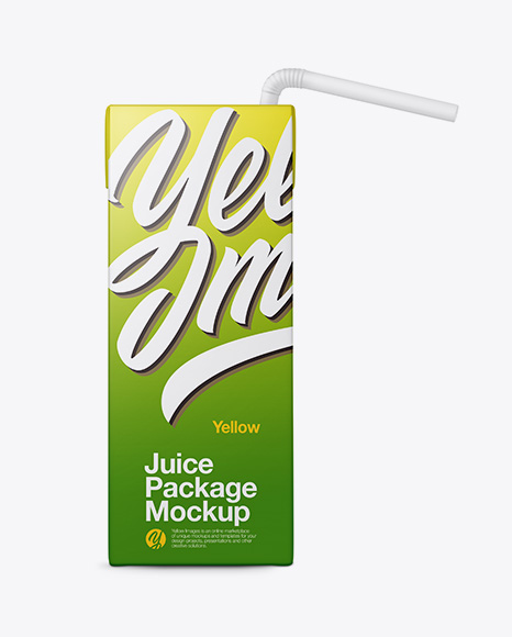 Carton Package with Straw Mockup - Front View