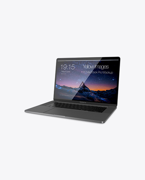 Macbook Pro Mockup - Half Side View (High-Angle Shot)