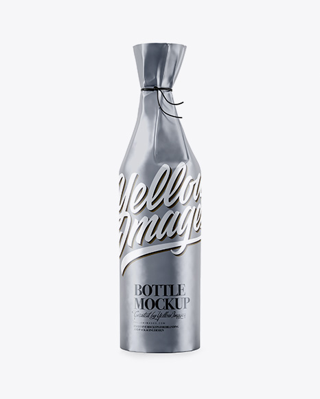 Bottle in Matte Metallic Paper Wrap Mockup