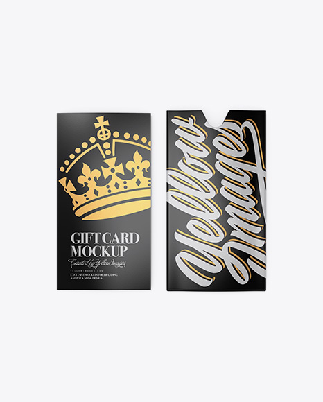Glossy Gift Card w/ Card Holder Mockup