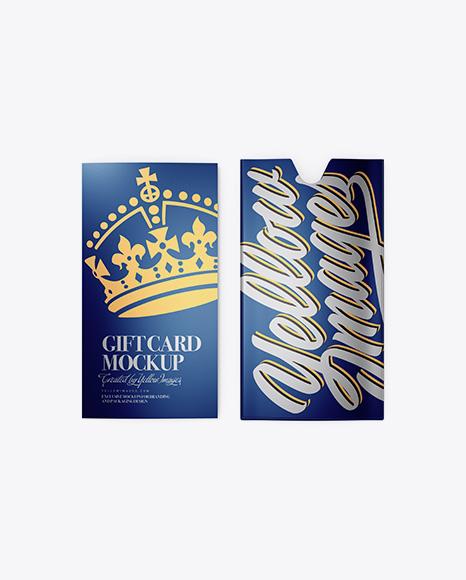Metallic Gift Card w/ Card Holder Mockup