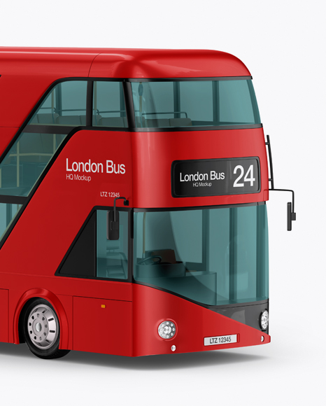 London Bus Mockup - Half Side View