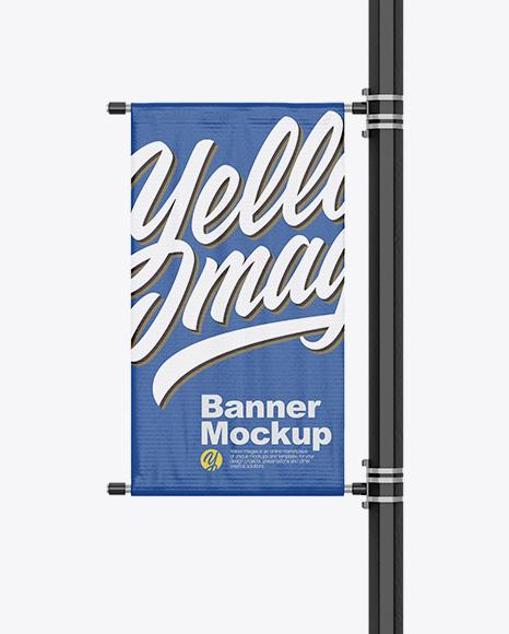 Matte Banner on Pillar Mockup - Front View