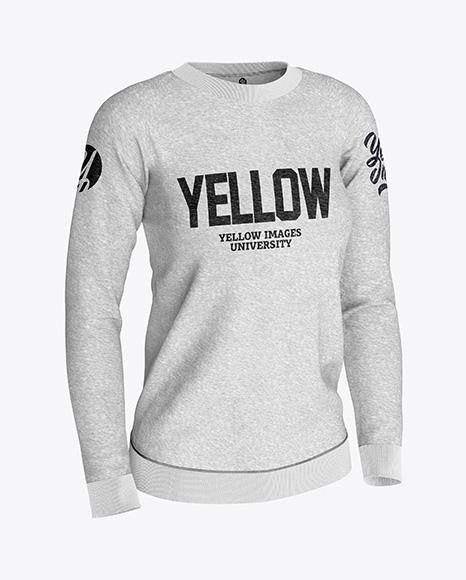 Women's Melange Sweatshirt Mockup - Half Side View
