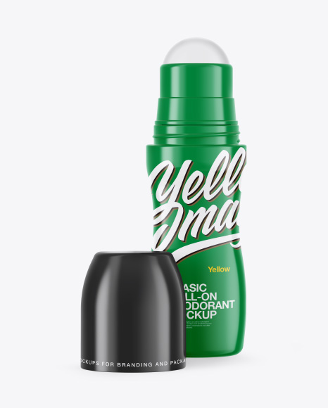 Glossy Roll-On Deodorant Open Cap Mockup - Front View