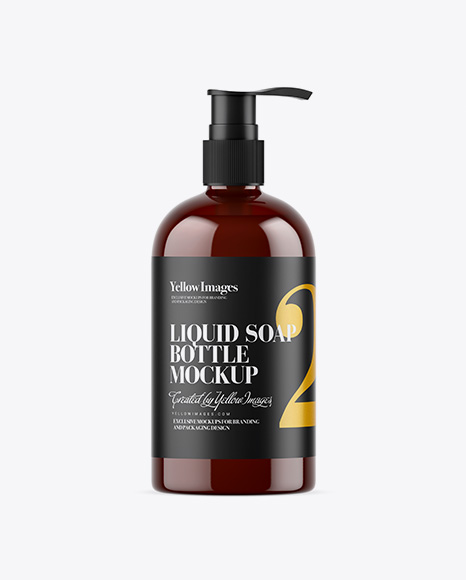 Amber Liquid Soap Bottle with Pump Mockup