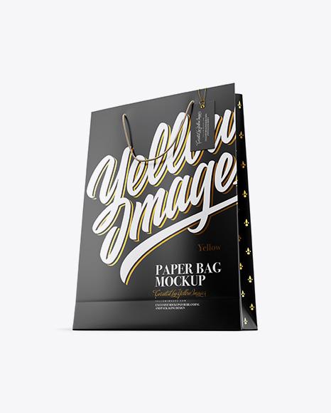 Matte Paper Bag w/ Label Mockup - Half Side View