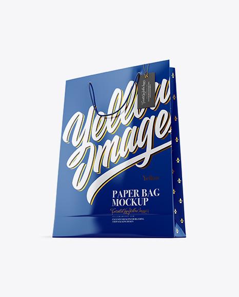 Glossy Paper Bag w/ Label Mockup - Half Side View