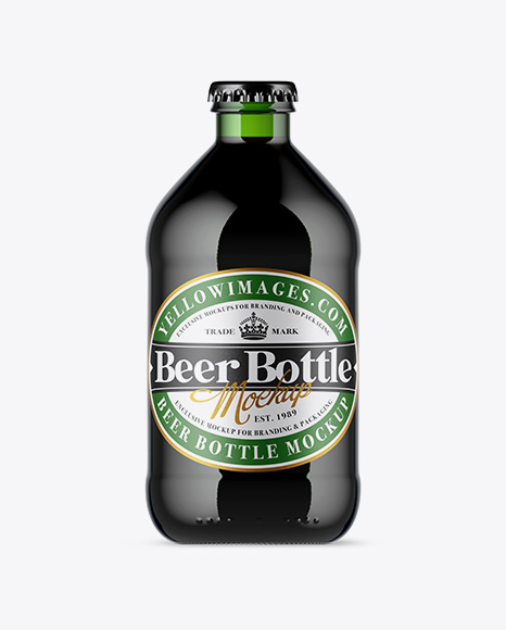 Green Glass Bottle With Stout Beer Mockup