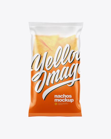 Matte Plastic Bag With Nachos Mockup